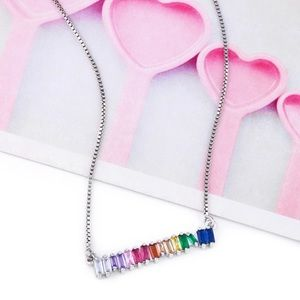 Rainbow bar necklace with cubic zirconia silver